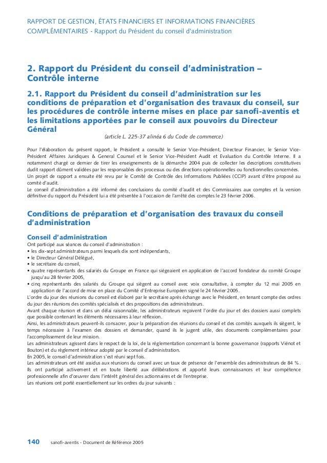 RAPPORT DE GESTION, ÉTATS FINANCIERS ET INFORMATIONS FINANCIÈRES COMPLÉMENTAIRES - Rapport du Président du conseil d'admin...