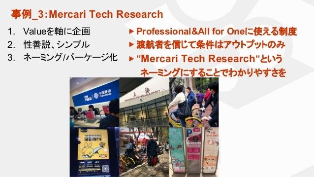 事例_3:Mercari Tech Research 1. Valueを軸に企画 2. 性善説、シンプル 3. ネーミング/パーケージ化 ▶ Professional&All for Oneに使える制度 ▶ 渡航者を信じて条件はアウトプットのみ...