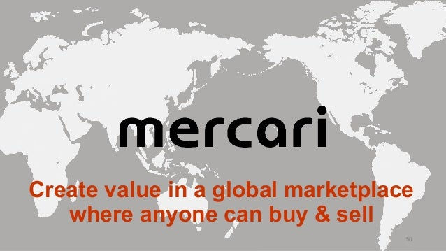 Create value in a global marketplace where anyone can buy & sell 50