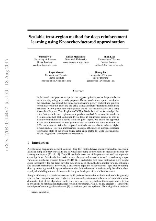 Scalable trust-region method for deep reinforcement learning