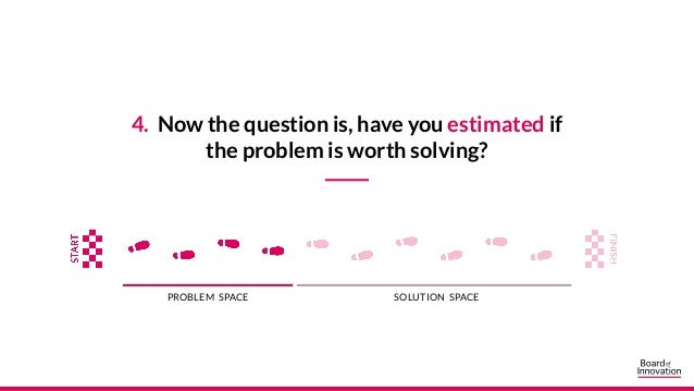 4. Now the question is, have you estimated if the problem is worth solving? PROBLEM SPACE SOLUTION SPACE
