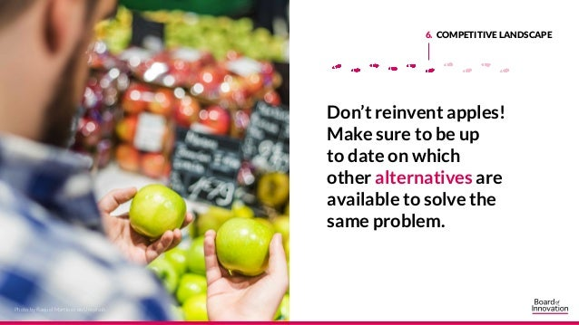 6. COMPETITIVE LANDSCAPE Don't reinvent apples! Make sure to be up to date on which other alternatives are available to so...