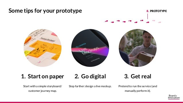 1. Start on paper Start with a simple storyboard/ customer journey map. 2. Go digital Step further: design a live mockup. ...