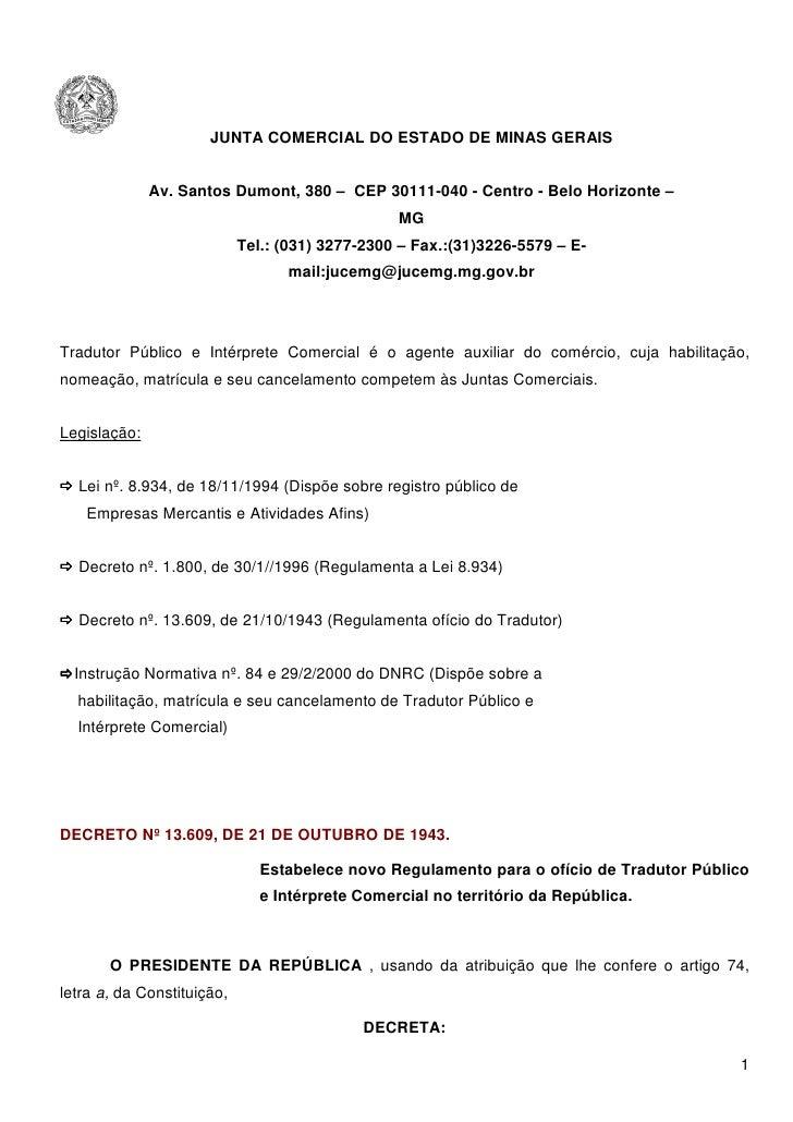 JUNTA COMERCIAL DO ESTADO DE MINAS GERAIS                 Av. Santos Dumont, 380 – CEP 30111-040 - Centro - Belo Horizonte...
