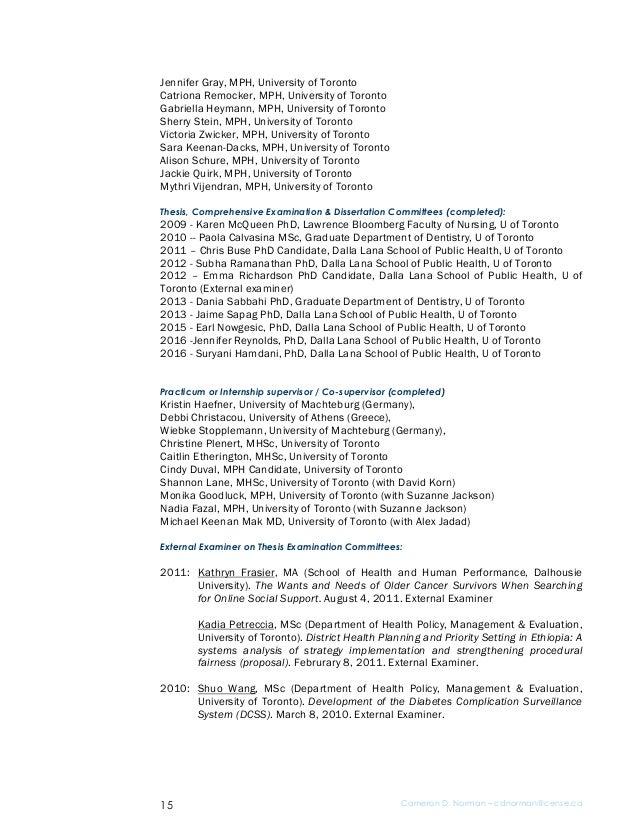 Cameron Norman Current Curriculum Vitae 2017