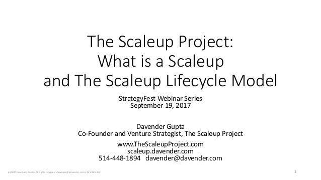 The Scaleup Project: What is a Scaleup and The Scaleup Lifecycle Model StrategyFest Webinar Series September 19, 2017 Dave...