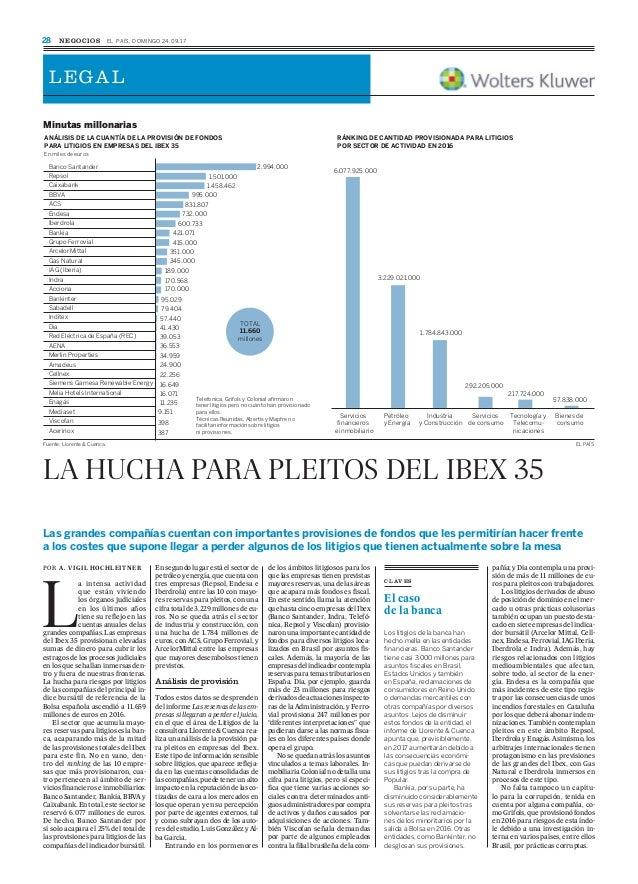 LA HUCHA PARA PLEITOS DEL IBEX 35 Las grandes compañías cuentan con importantes provisiones de fondos que les permitirían ...