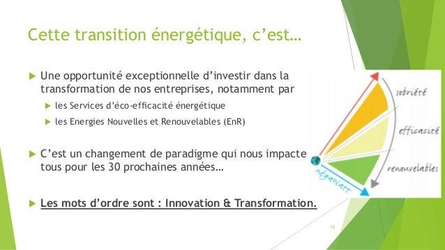 Cette transition énergétique, c'est…  Une opportunité exceptionnelle d'investir dans la transformation de nos entreprises...
