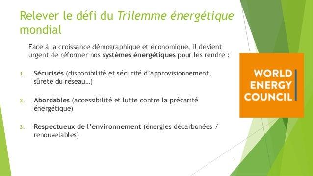 Relever le défi du Trilemme énergétique mondial Face à la croissance démographique et économique, il devient urgent de réf...