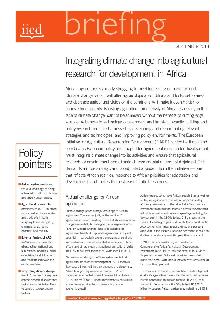 sEPTEmBER 2011                                   Integrating climate change into agricultural                             ...