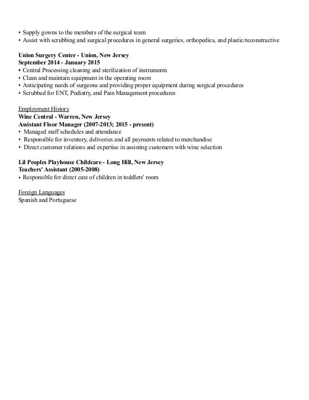 Updated Surgical Technologist Resume