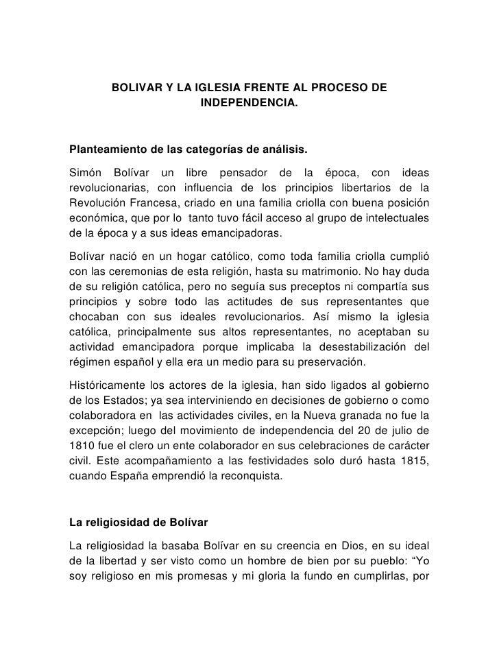 BOLIVAR Y LA IGLESIA FRENTE AL PROCESO DE INDEPENDENCIA.<br />Planteamiento de las categorías de análisis.<br />Simón Bolí...