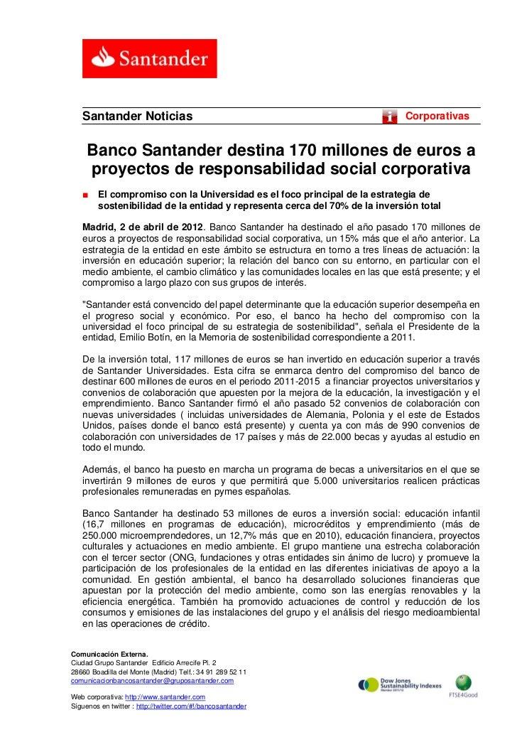 Santander Noticias                                                         Corporativas     Banco Santander destina 170 mi...