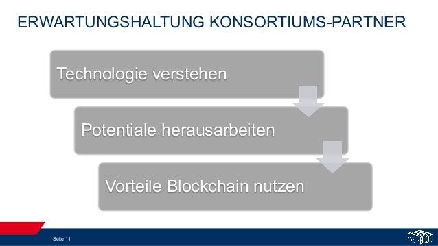 ERWARTUNGSHALTUNG KONSORTIUMS-PARTNER Seite 11 Technologie verstehen Potentiale herausarbeiten Vorteile Blockchain nutzen