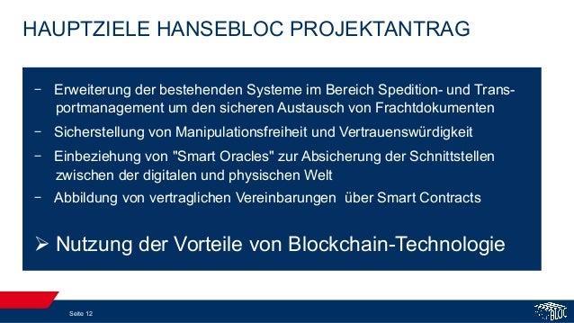 HAUPTZIELE HANSEBLOC PROJEKTANTRAG Seite 12 - Erweiterung der bestehenden Systeme im Bereich Spedition- und Trans- portma...