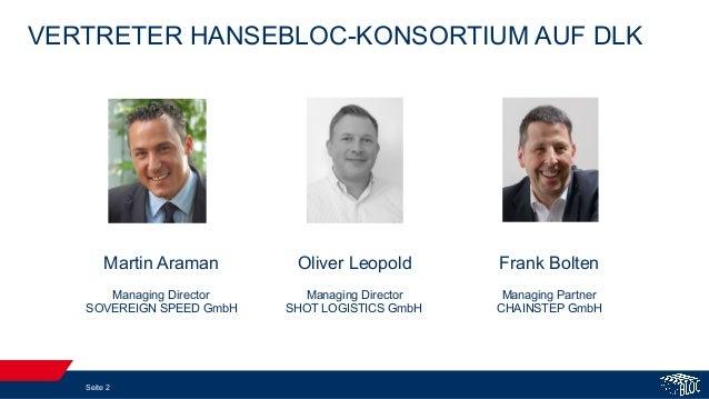 VERTRETER HANSEBLOC-KONSORTIUM AUF DLK Seite 2 Martin Araman Managing Director SOVEREIGN SPEED GmbH Frank Bolten Managing ...