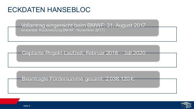 ECKDATEN HANSEBLOC Seite 9 Vollantrag eingereicht beim BMWF: 31. August 2017 (erwartete Rückmeldung BMWF: November 2017) G...