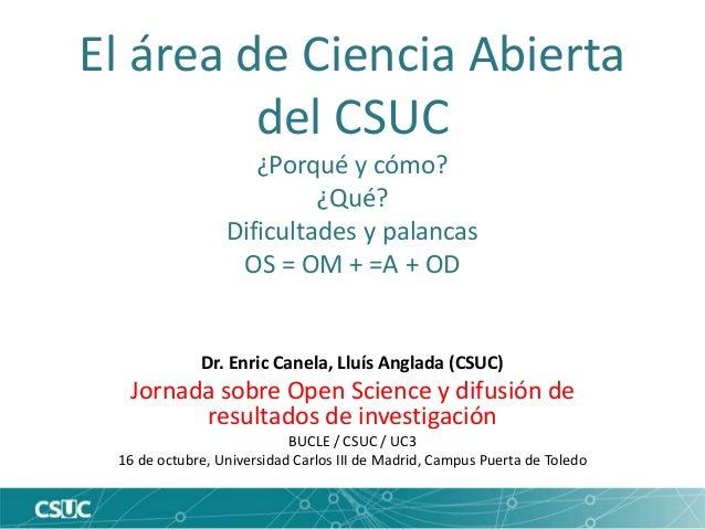 El área de Ciencia Abierta del CSUC ¿Porqué y cómo? ¿Qué? Dificultades y palancas OS = OM + =A + OD Dr. Enric Canela, Lluí...