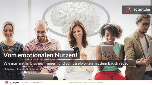 Samstag, 11. November 2017 Copyright Mirko Lange, Scompler / Scribbleive 1 Vom emotionalen Nutzen! Wie man mit limbischen ...
