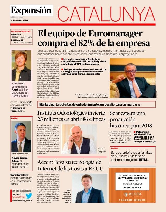 CATALUNYA29 de noviembre de 2017 Miércoles Andreu Suriol dimite como presidente de la Cámara de Tarragona P6 La inmobiliar...