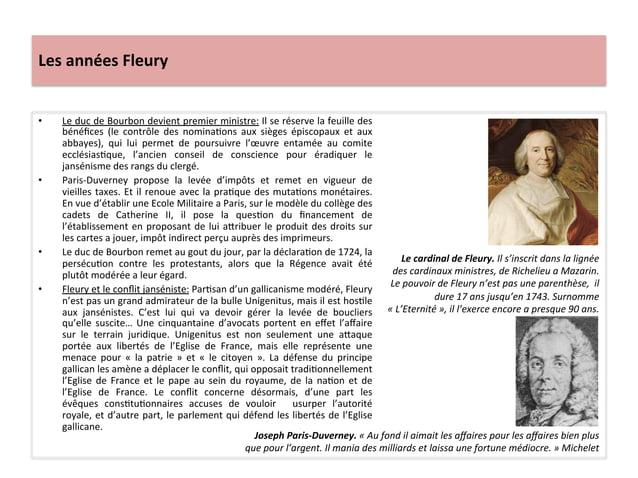 Les années Fleury • Le duc de Bourbon devient premier ministre: Il se réserve la feuille de...