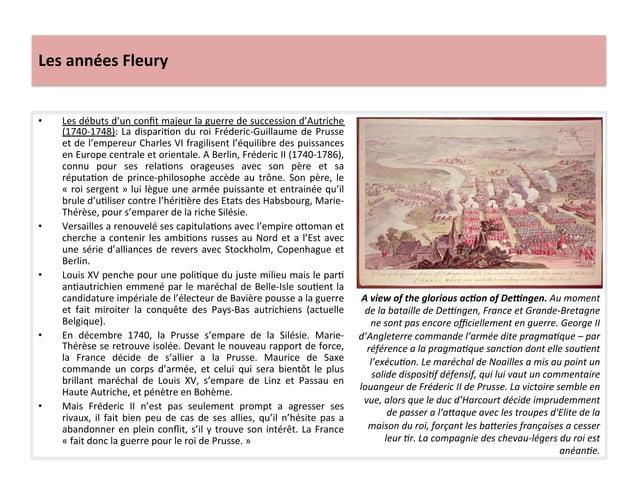 Les années Fleury • Les débuts d'un confit majeur la guerre de succession d'Autriche (1740-‐174...