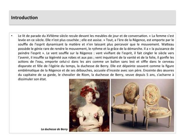Introduc)on • Le lit de parade du XVIIème siècle recule devant les meubles de jour et de ...