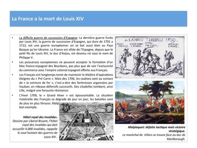 La France a la mort de Louis XIV • La difficile guerre de succession d'Espagne: La dernière ...