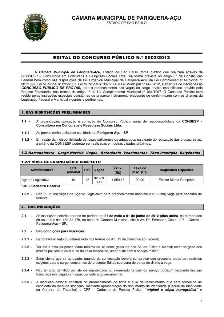CÂMARA MUNICIPAL DE PARIQUERA-AÇU                                                            ESTADO DE SÃO PAULO          ...