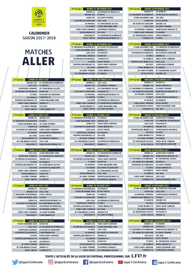 Calendrier Bordeaux Ligue 1.Calendrier Ligue 1