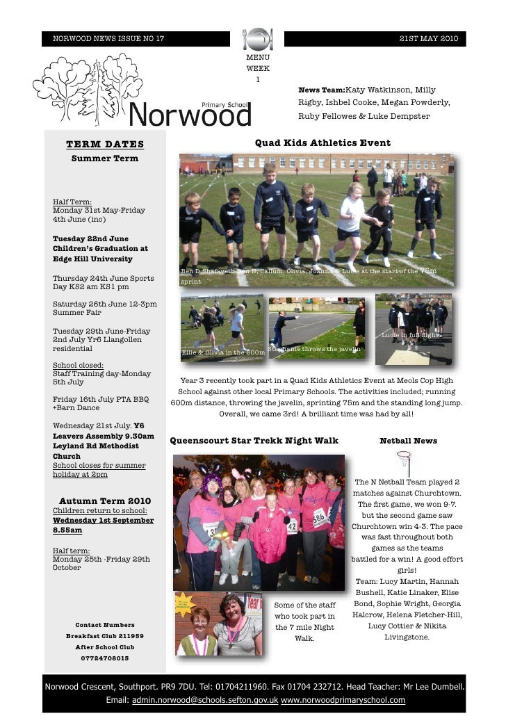 NORWOOD NEWS ISSUE NO 17                                                                          21ST MAY 2010           ...