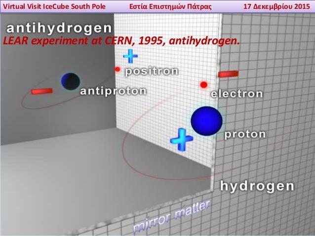 Virtual Visit IceCube South Pole Εστία Επιστημών Πάτρας 17 Δεκεμβρίου 2015 LEAR experiment at CERN, 1995, antihydrogen.