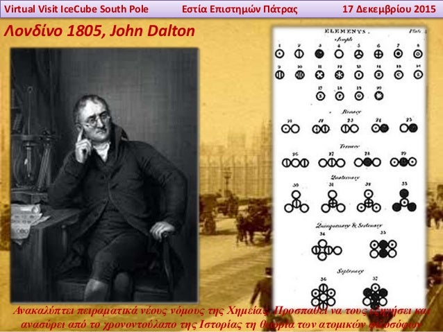 Virtual Visit IceCube South Pole Εστία Επιστημών Πάτρας 17 Δεκεμβρίου 2015 Λονδίνο 1805, John Dalton Ανακαλύπτει πειραματι...