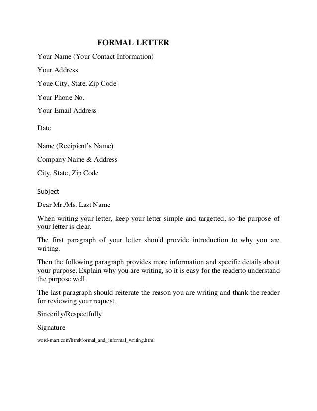 Formal Letter Format. Example Of : Formal Business Letter Format