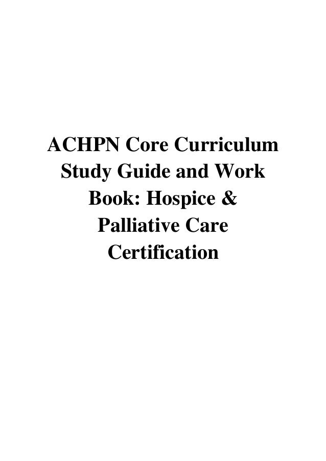 Achpn Core Curriculum Study Guide And Work Book Pdf Achpn Test Prep