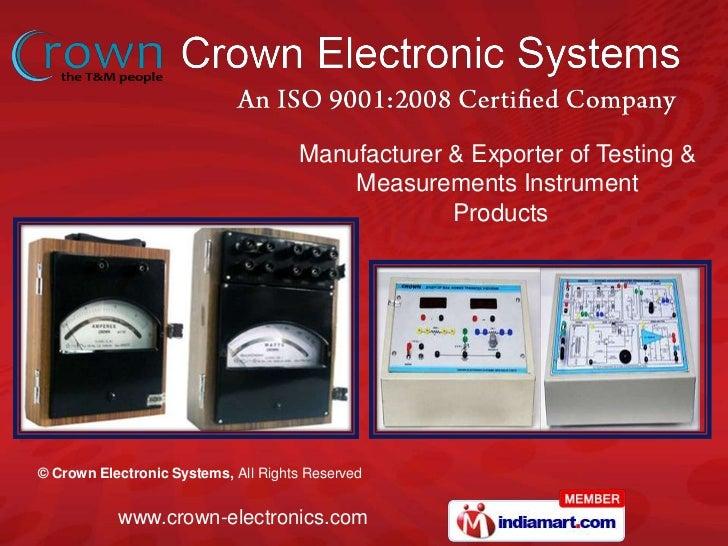 Manufacturer & Exporter of Testing & <br />Measurements Instrument<br /> Products<br />