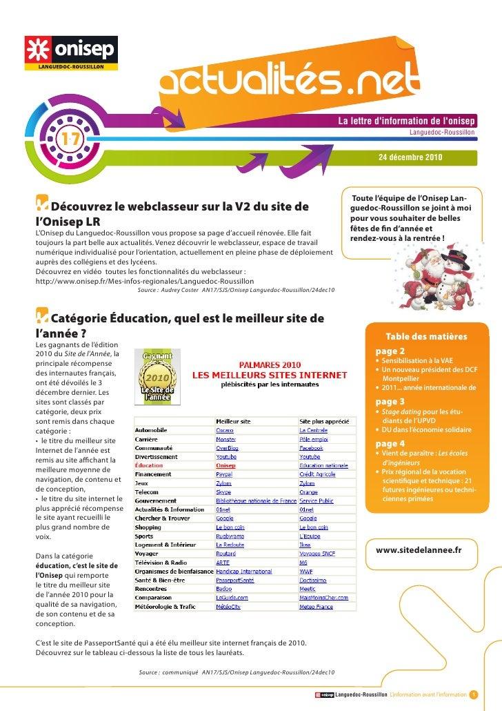Actualité.net n°17 du 24/12/10