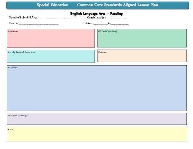 Special Education Lesson Plan Template Idealstalist