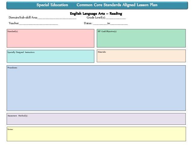Special Educationcommoncorestandardsalignedieplessonplantempl - Common core aligned lesson plan template