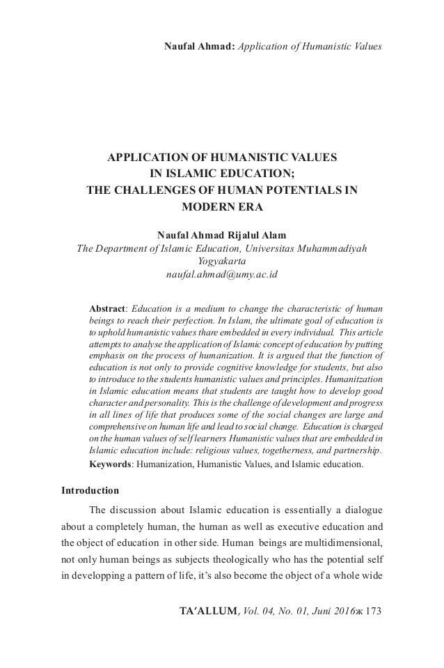 TA'ALLUM, Vol. 04, No. 01, Juni 2016ж 173 Naufal Ahmad: Application of Humanistic Values APPLICATION OF HUMANISTIC VALUES ...