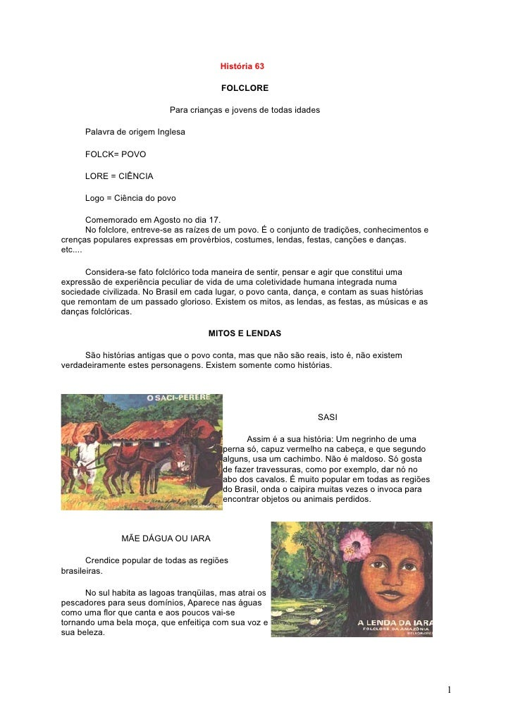 História 63                                           FOLCLORE                              Para crianças e jovens de toda...