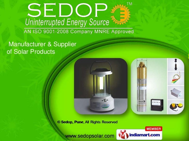 Manufacturer & Supplierof Solar Products