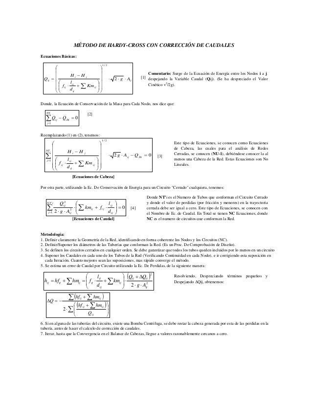 MÉTODO DE HARDY-CROSS CON CORRECCIÓN DE CAUDALES  Ecuaciones Básicas:  [1]  H H  ⎞  ⎟ ⎟ ⎟ ⎟ ⎟  ⎛  ⎜ ⎜ ⎜ ⎜ ⎜  −  1 / 2  Q ⋅...