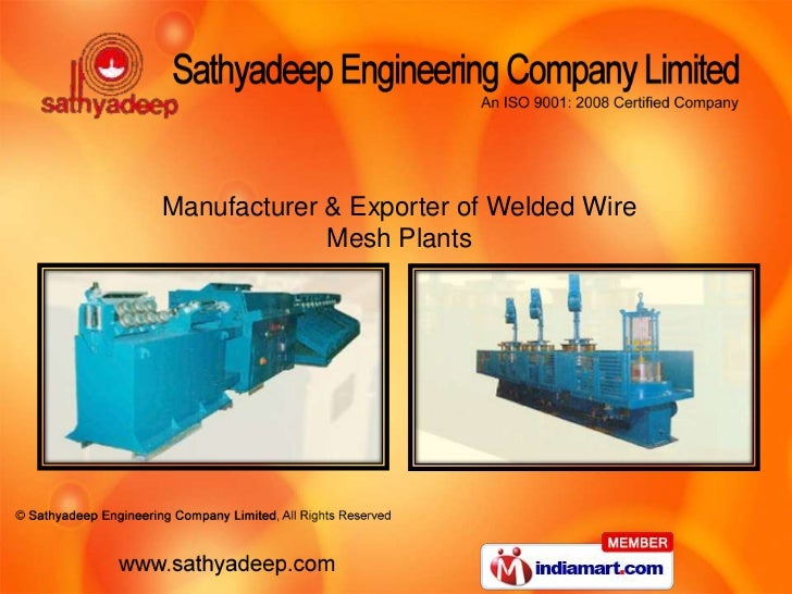 Manufacturer & Exporter of Welded Wire             Mesh Plants