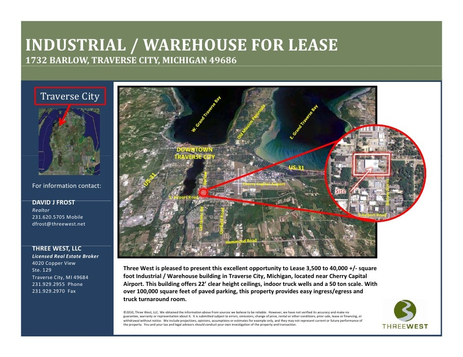 INDUSTRIAL / WAREHOUSE FOR LEASE 1732 BARLOW, TRAVERSE CITY, MICHIGAN 49686       Traverse City                           ...