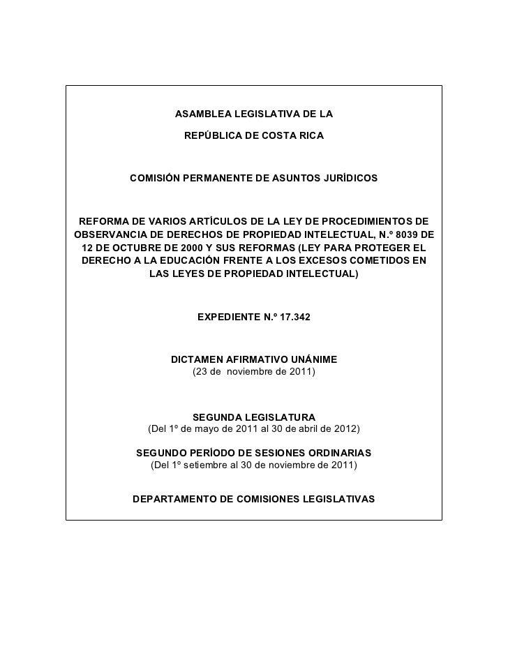 ASAMBLEA LEGISLATIVA DE LA                    REPÚBLICA DE COSTA RICA         COMISIÓN PERMANENTE DE ASUNTOS JURÍDICOS REF...