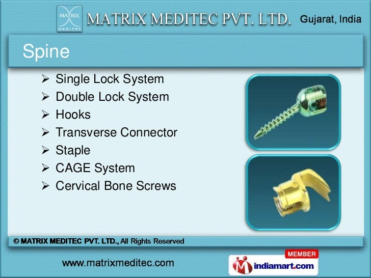Spine    Single Lock System    Double Lock System    Hooks    Transverse Connector    Staple    CAGE System    Cerv...