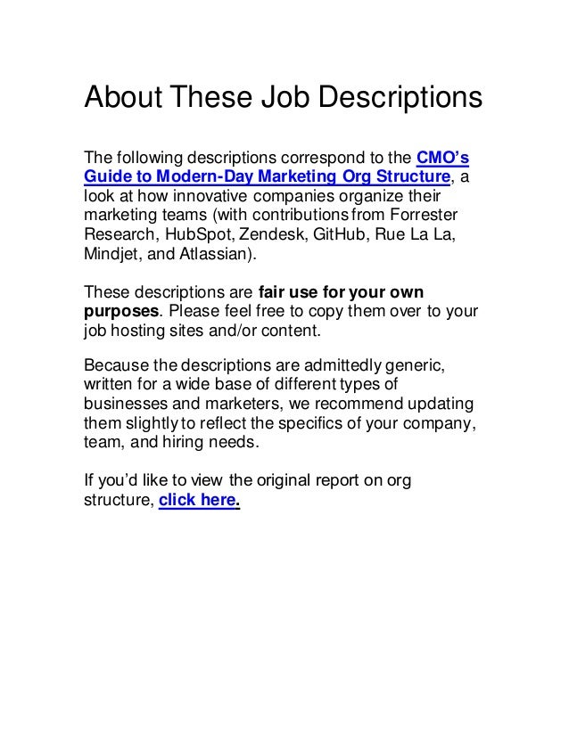37 marketing job descriptions hubspot - Chief marketing officer job description ...