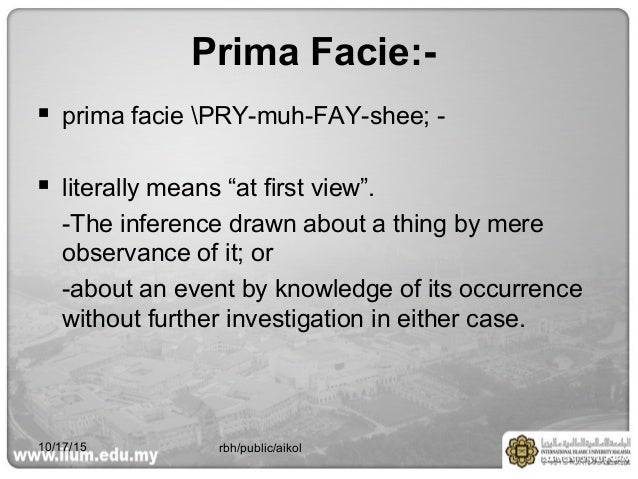 the meaning of prima facie