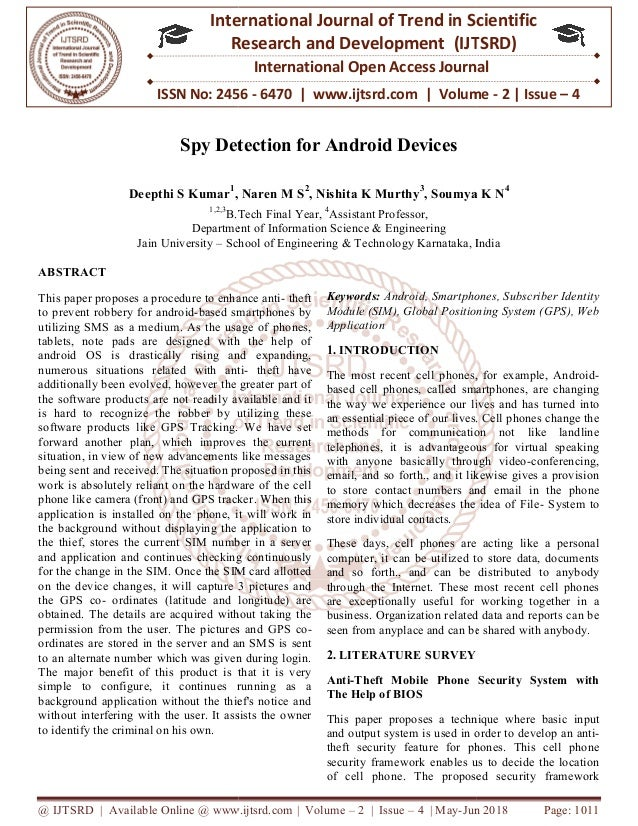 Spy Detection for Android Devices